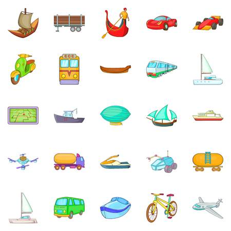 Transportation icons set, cartoon style Иллюстрация