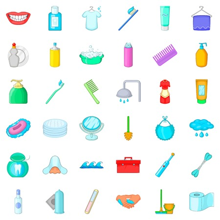 Cleaning icons set, cartoon style Illustration