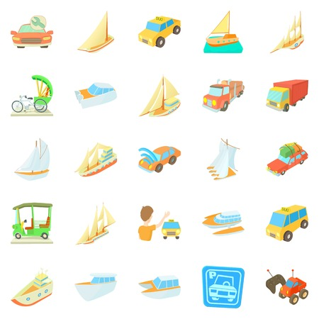cars vehicles icons set, cartoon style Vector illustration.