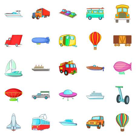 Getting around the world icons set, cartoon style Vector illustration.
