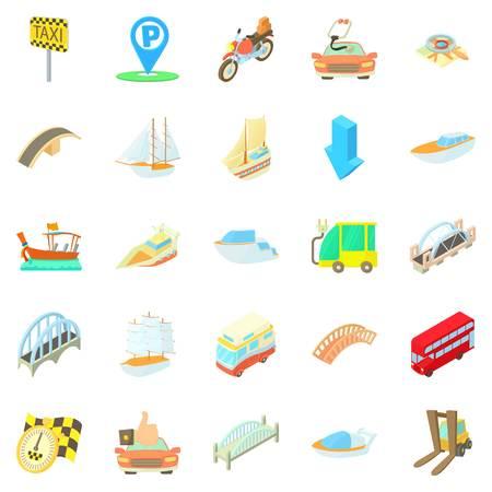 Catch the taxi icons set, cartoon style Stok Fotoğraf