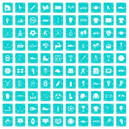 100 athlete icons set grunge blue