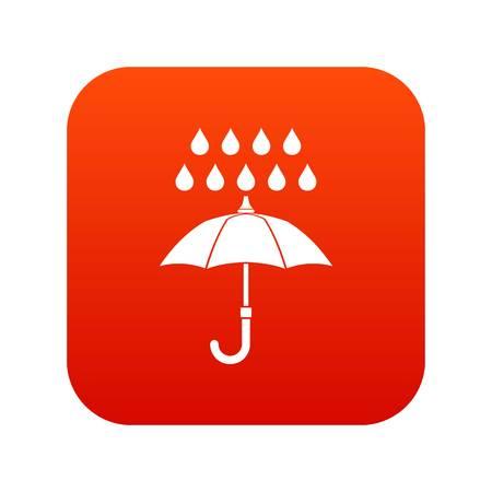 Umbrella and rain icon digital in red square illustration.