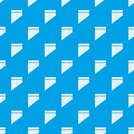 Pan flute seamless pattern on blue background illustration.
