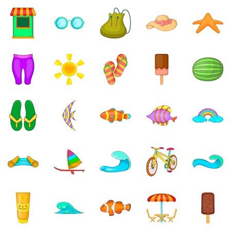 Easy life icons set, cartoon style