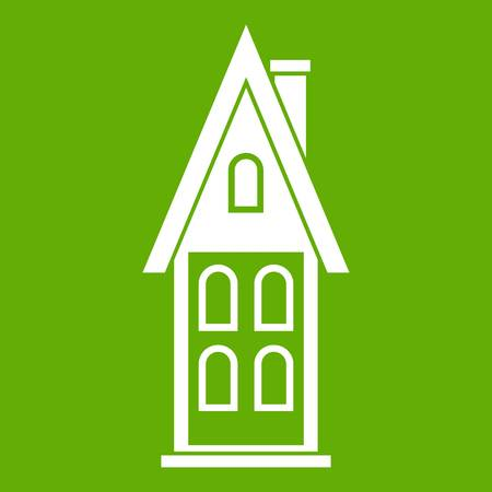 Two storey house with attic icon green