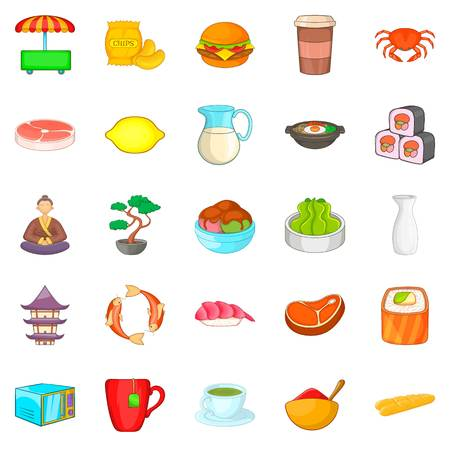 Tea ceremony icons set, cartoon style Illustration