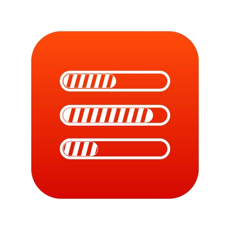 Sign horizontal columns load icon digital in red square illustration.
