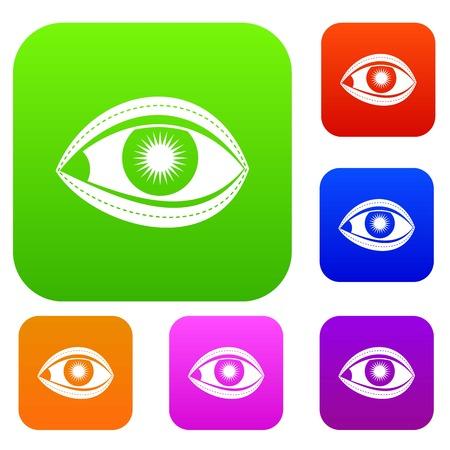 Plastic surgery of eye set color collection Ilustração