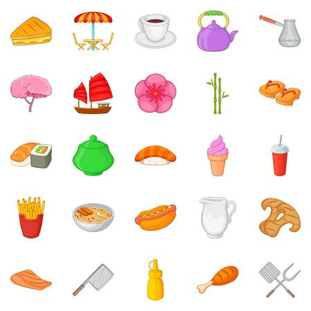 Fish meal icons set, cartoon style illustration.