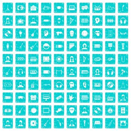 100 audience icons set grunge blue Illustration