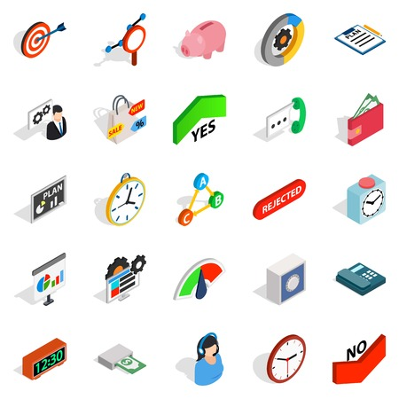 Reciprocity icons set, isometric style