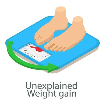 Unexplained weight icon, isometric style Illustration