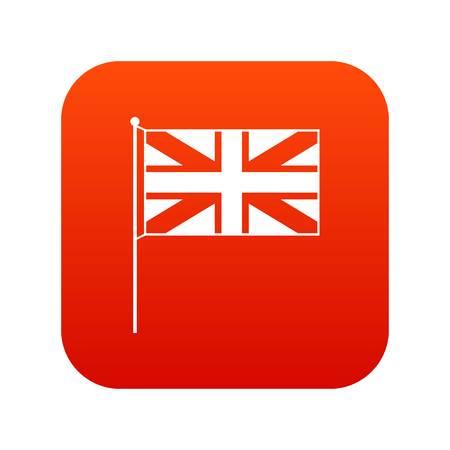 UK flag icon digital in red square vector illustration.