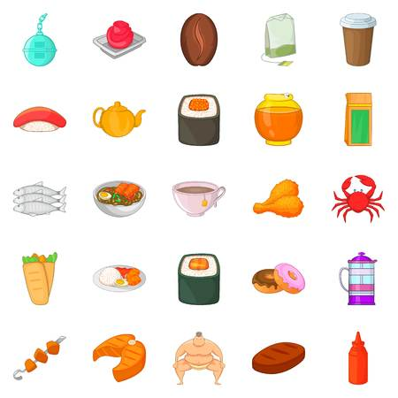 Fish delicacy icons set, cartoon style