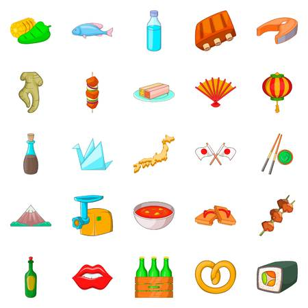 European food icons set, cartoon style Illustration