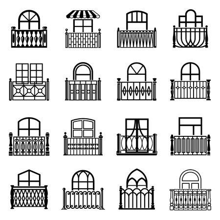 Balcony window icons set, simple style