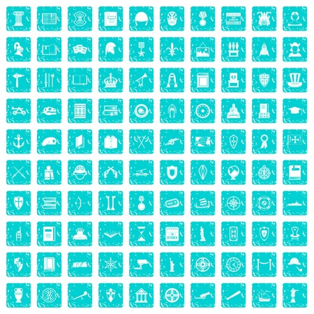 100 history icons set grunge blue Vectores