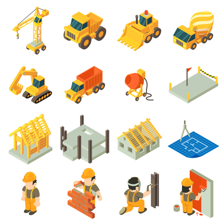 Construction building icons set, isometric style