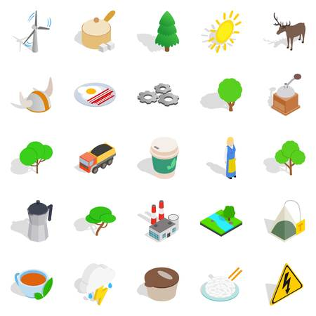 Sweden culture icons set, isometric style
