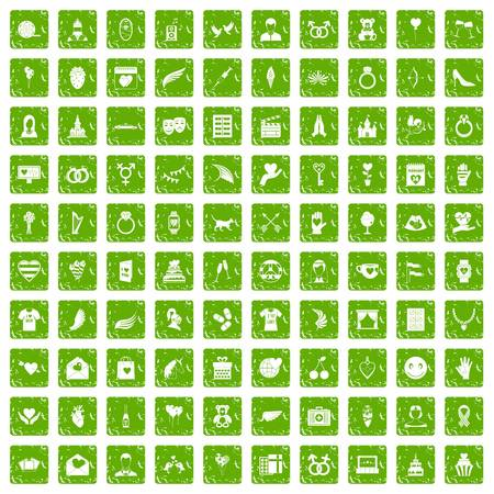 100 heart icons set in grunge style green color isolated on white background vector illustration