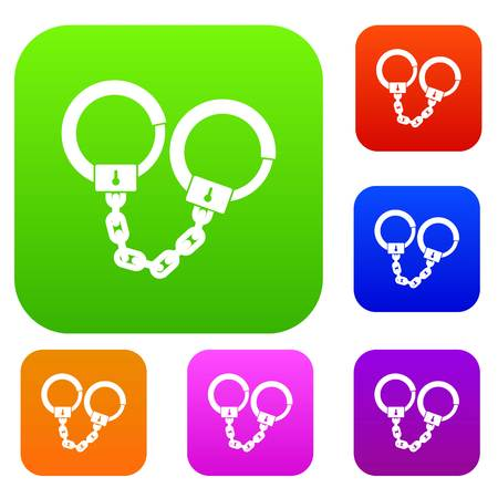 Handcuffs set icon color in flat style isolated on white. Collection sings vector illustration