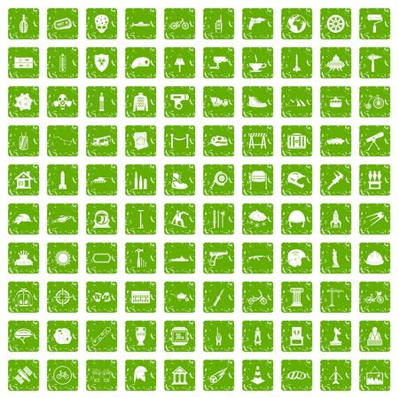 100 helmet icons set in grunge style green color isolated on white background vector illustration