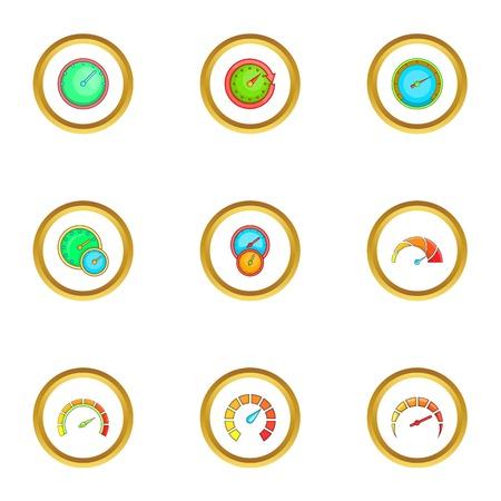 Speedometer icons set. Cartoon style set of 9 speedometer vector icons for web design