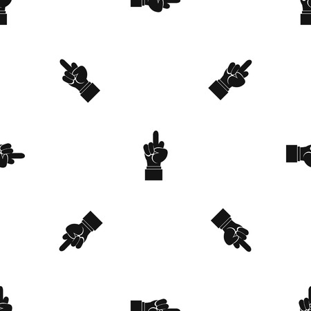 Middle finger hand sign pattern repeat seamless in black color for any design. Vector geometric illustration