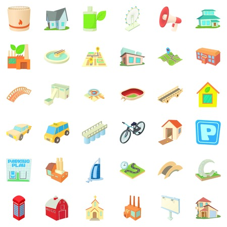 Skyscraper icons set. Cartoon style of 36 skyscraper vector icons for web isolated on white background