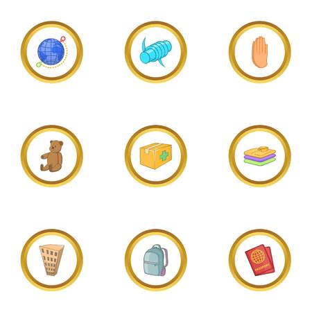Problems of immigrant icons set. Cartoon style set of 9 problems of immigrant vector icons for web design Illustration