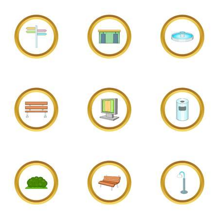 Park element icons set. Cartoon style set of 9 park element vector icons for web design