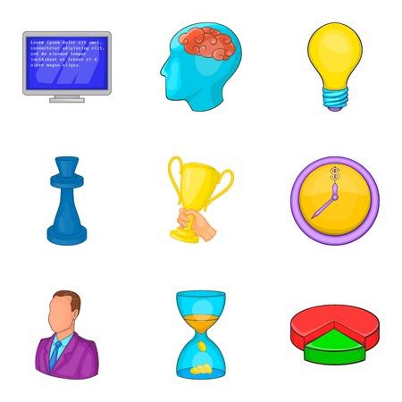 Champion coaching icon set. Cartoon set of 9 champion coaching vector icons for web design isolated on white background