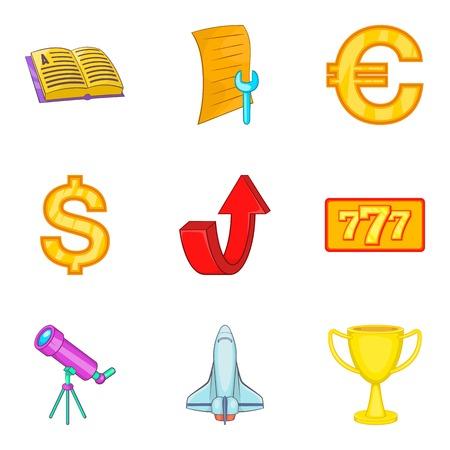 Economy coaching icon set. Cartoon set of 9 economy coaching vector icons for web design isolated on white background