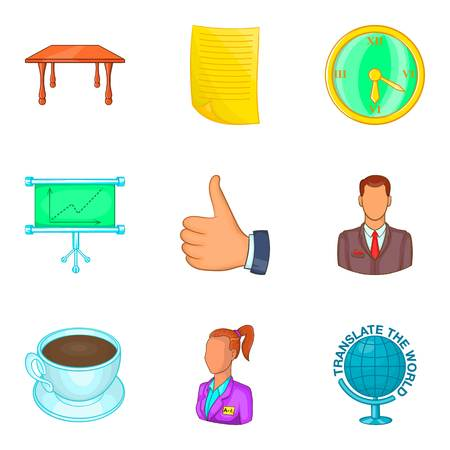 Office manager icon set. Cartoon set of 9 office manager vector icons for web design isolated on white background Illustration