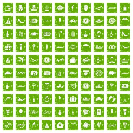 100 honeymoon icons set grunge green
