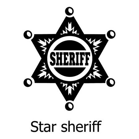 Star sheriff icon, simple black style