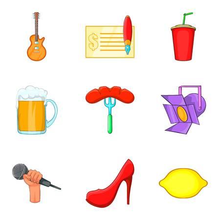 Music party festival icon set, cartoon style Illustration