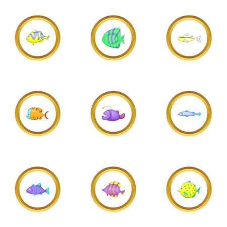 Color fish icons set, cartoon style