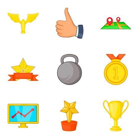 Gold coaching icon set, cartoon style Illustration