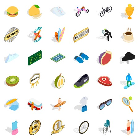 Win icons set, isometric isolated on plain background.