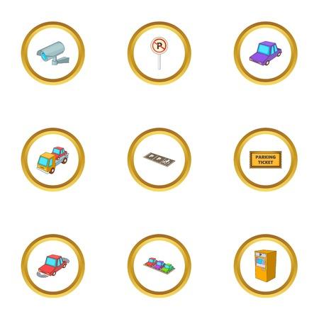 Parking icons set, cartoon style isolated on plain background. Illustration