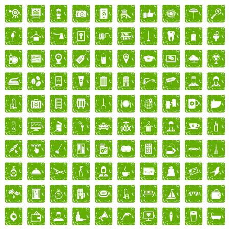 100 hotel services icons set grunge green