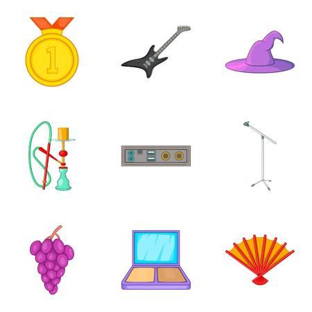 Music party icon set, cartoon style Illustration
