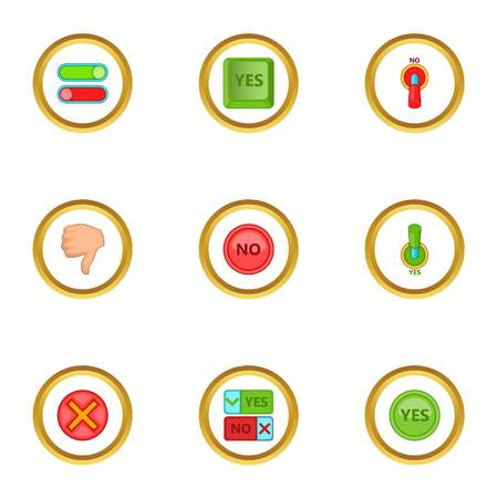 Yes and no button icons set, cartoon style
