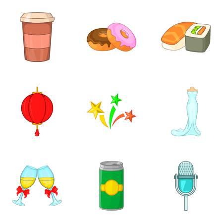 Conjunto de iconos de fiesta de comida. Conjunto de dibujos animados de 9 iconos de vector de fiesta de comida para diseño web aislado sobre fondo blanco