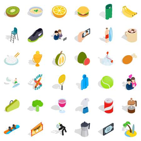 Surf club icons set, isometric style.