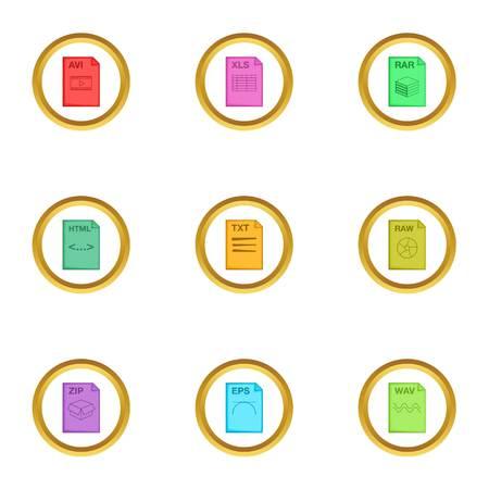 Document format icons set, cartoon style