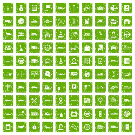 100 auto icons set grunge green.