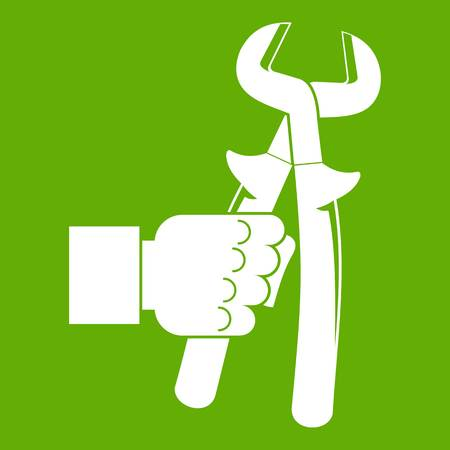 Hand holding calipers icon green. Illustration